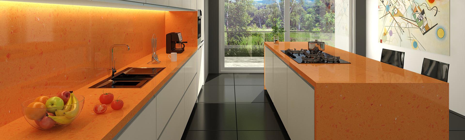 Mesadas de Cuarzo para cocina y baño Fresh Orange|Mesadas Technistone